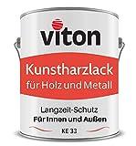 VITON Kunstharzlack für Holz und Metall - 0,7 Kg Alkydharzlack für Außen - Einschichtig, Glänzend, Braun - Bootslack-Qualität - Lange Haltbar & Widerstandsfähig - KE 33 - RAL 8002 Signalbraun