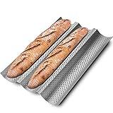KITESSENSU Antihaft Baguette Backform, Baguette Blech 3-Baguette-Tablett mit perforierter Oberfläche, 38 x 24.5 cm, Silber