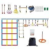 Kacsoo Ninja Warrior Hinderniskurs 50'-Slackline-Kit für Kinder Klettertrainingsausrüstung inklusive Kletterseil, Gurtbandleiter, Kletternetz und Spinnrad