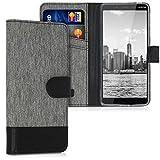 kwmobile Wallet Case kompatibel mit Nokia 1 Plus - Hülle mit Ständer - Handyhülle Kartenfächer Grau Schwarz