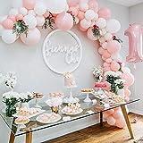 specool Rosa Weiß Luftballons, 100 Stück Premiumqualität Latex Luftballons für Geburtstagsfeier Hochzeit Party und Kinder Dusche Party,Festival Dekoration