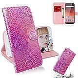 Careynoce Hülle für Nokia 1 Plus,Luxus Premium Geprägte Pure Farbe Leather Brieftasche Flip Cover - Magnetisch Ständer Kartenfach Schutzhülle für Nokia 1 Plus - Rosa