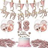 18 Geburtstag Dekoration Set,Rosegold Geburtstags Party Dekoration,Happy Birthday Banner,Nummer 18 Luftballon,Geburtstagsfeier für Jungen und Mädchen