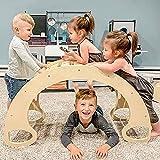 Indoor Klettergerüste für Kinder, Kletterbogen, Bunte Kinder-Bogenwippe aus Holz, Bogenleiter Rutsche aus Natürlichem Holz-handgefertigt, Fördert Motorik und Koordination der Körperbalance