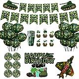 Daohexi 57 Stück Camouflage Geburtstagsfeier Dekorationen, Militärische Themen Geburtstag Party Supply, Camo Luftballons für Geburtstag Baby Shower Décor