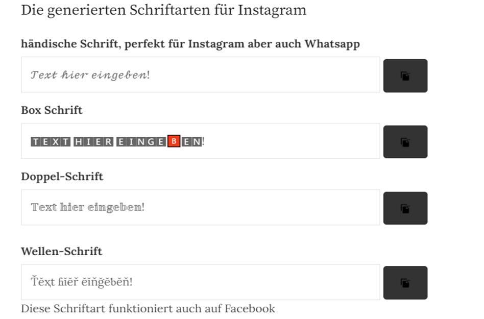 Schrift bei Instagram, screenshot
